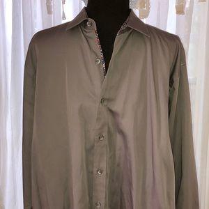 Men's Grey Bugatchi Yomo Dress Shirt Sz L